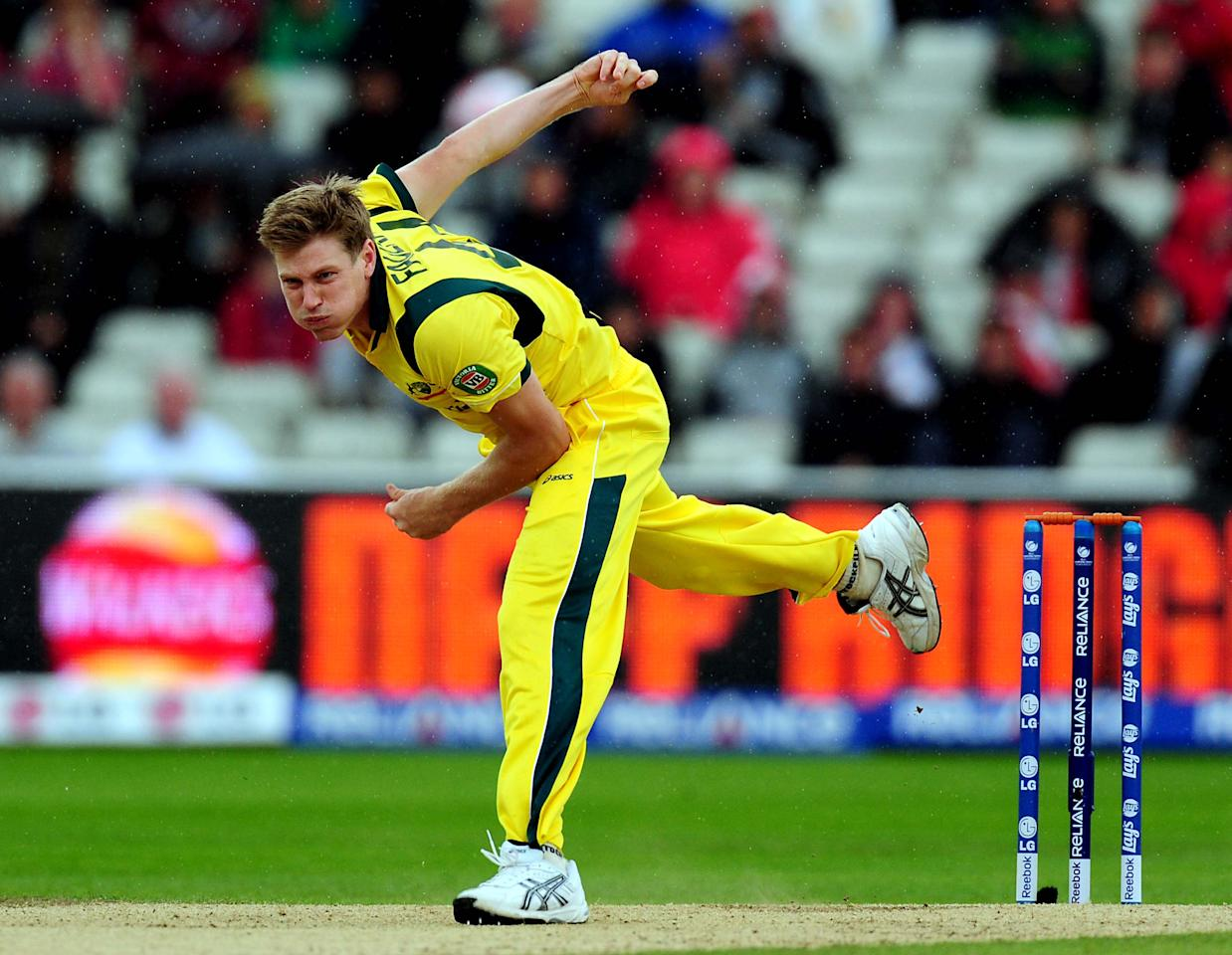 Australia's James Faulkner during the ICC Champions Trophy match at Edgbaston, Birmingham.