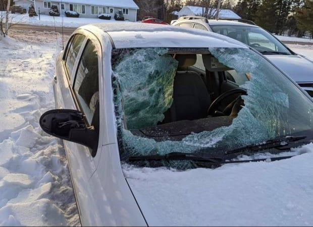 Norma MacEachern suffered some cuts when ice from another vehicle dislodged and slammed through the windshield of a car where she was a passenger.