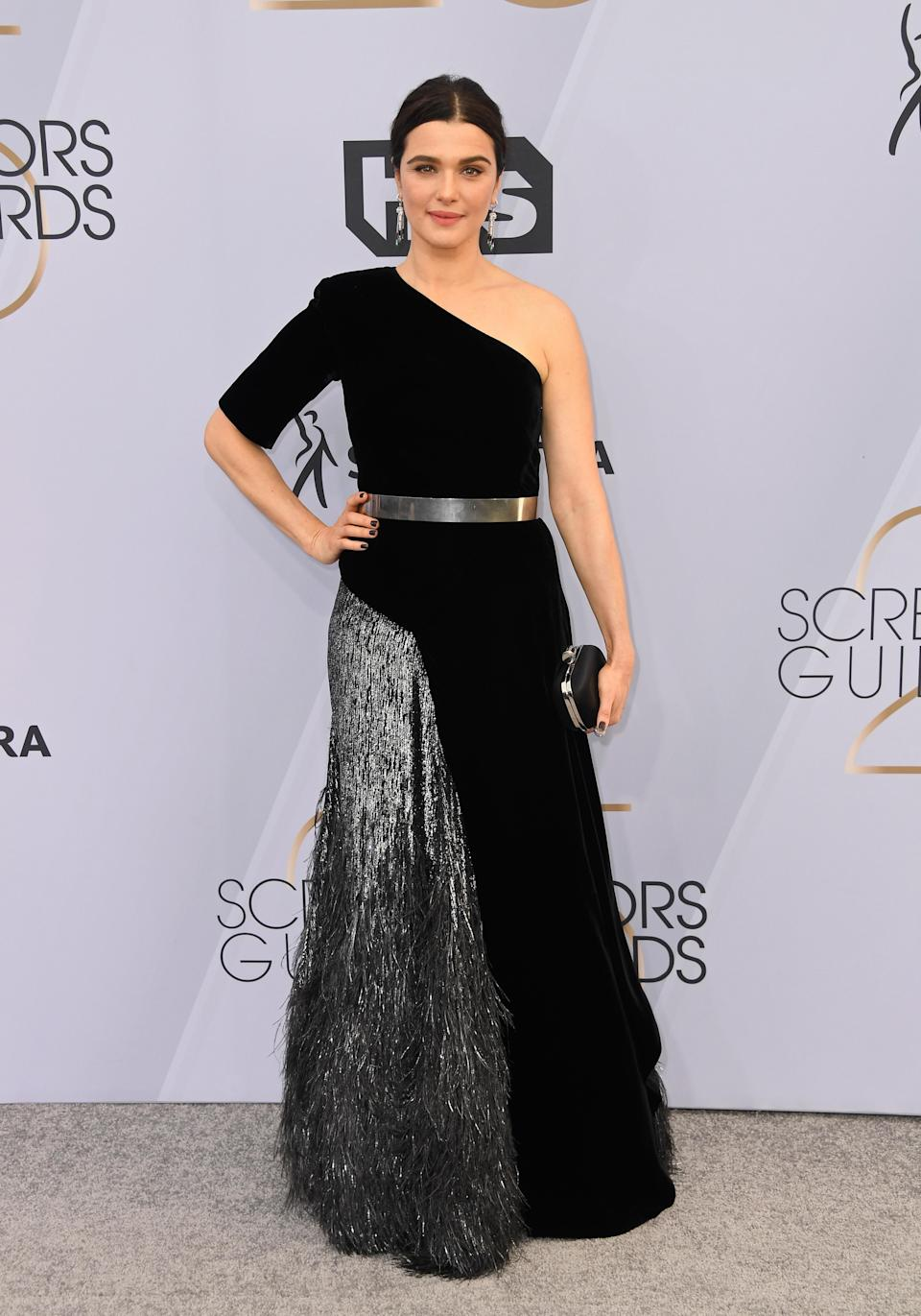 <p>Rachel Weisz chose a one-shoulder Givenchy gown for the 2019 SAG Awards finished with Cartier jewels. <em>[Photo: Getty]</em> </p>
