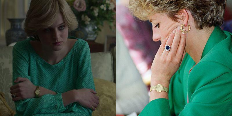 <p>In addition to her sapphire and diamond engagement ring, Princess Diana had a myriad of go-to accessories. <em>The Crown</em> paid homage to one of her favorites, a gold wrist watch, in season 4. </p>