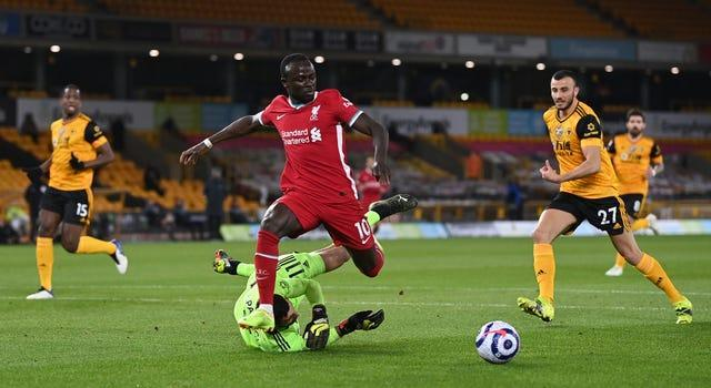 Sadio Mane (centre) had an early chance for Liverpool but was unable to capitalise