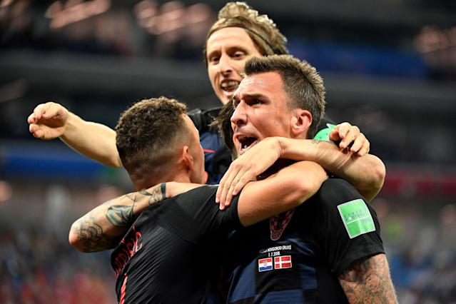Croatia's Mario Mandzukic celebrates after scoring during the Russia 2018 World Cup round of 16 football match between Croatia and Denmark at the Nizhny Novgorod Stadium in Nizhny Novgorod on July 1, 2018. (Getty Images)