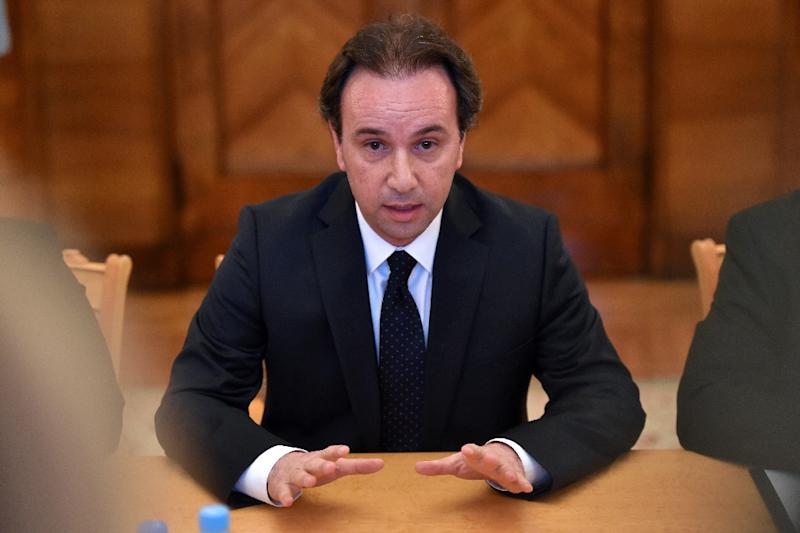 Syrian Opposition Council President Khaled Khoja speaks in Moscow on August 13, 2015