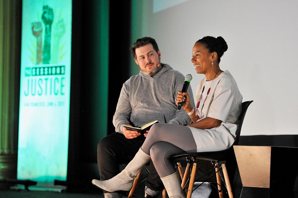 SAN FRANCISCO, CA - JUNE 06: Matthew Panzarino, left, and Maxine Williams participate in a panel at Alamo Drafthouse New Mission on June 6, 2017 in San Francisco, California. (Photo by Steve Jennings/Getty Images for TechCrunch)