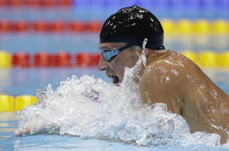 United States' Ryan Lochte competes in the men's 400-meter individual medley swimming final at the Aquatics Centre in the Olympic Park during the 2012 Summer Olympics in London, Saturday, July 28, 2012. (AP Photo/Matt Slocum)