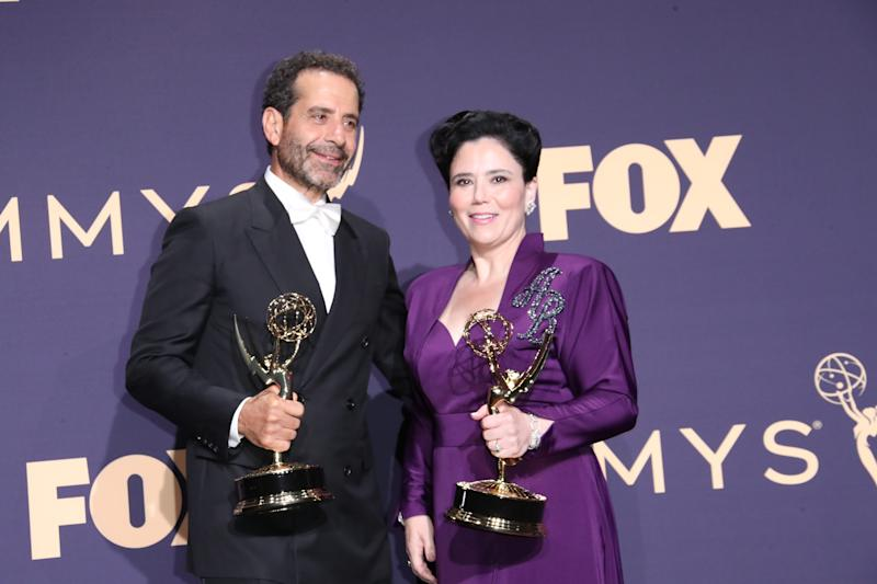 Tony Shalhoub, left, and Alex Borstein both won Emmys for their acting in