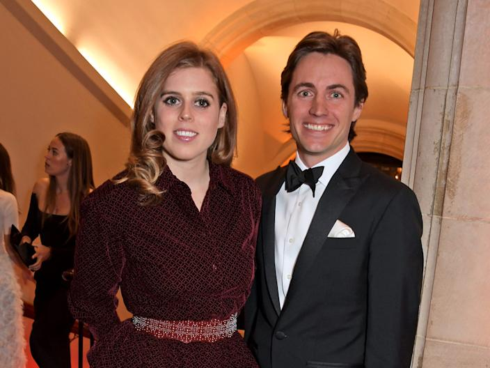Princess Beatrice of York and Edoardo Mapelli Mozzi attend The Portrait Gala 2019 hosted by Dr Nicholas Cullinan and Edward Enninful to raise funds for the National Portrait Gallery's 'Inspiring People' project at the National Portrait Gallery on March 12, 2019 in London, England.