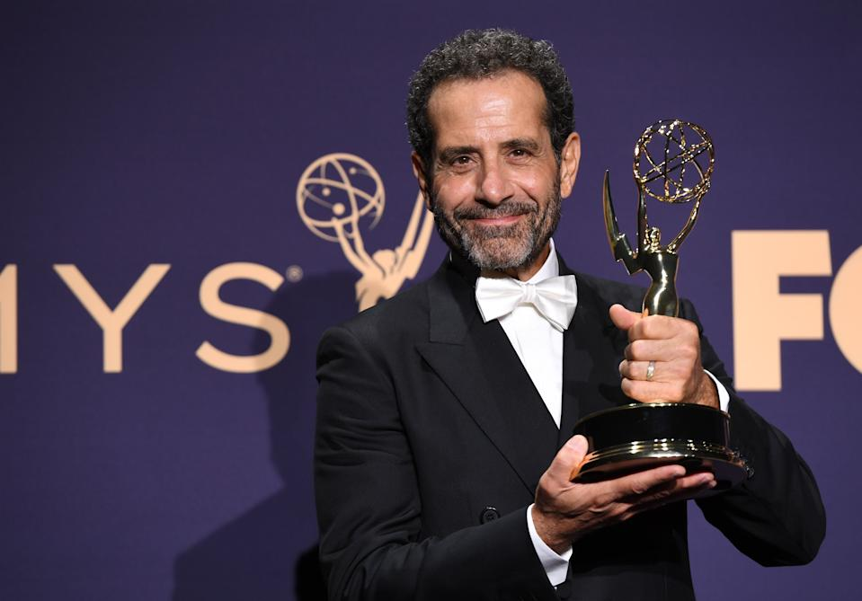 Outstanding Supporting Actor In A Comedy Series Tony Shalhoub poses with his award during the 71st Emmy Awards at the Microsoft Theatre in Los Angeles on September 22, 2019. (Photo by Robyn Beck / AFP)        (Photo credit should read ROBYN BECK/AFP/Getty Images)