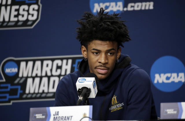 Murray State's Ja Morant listens to a question during a news conference at the men's college basketball NCAA Tournament, Friday, March 22, 2019, in Hartford, Conn. Murray State will play Florida State in the second round on Saturday. (AP Photo/Elise Amendola)