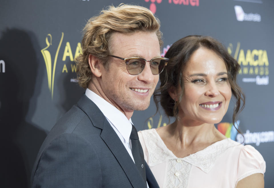 Simon Baker and ex-wife Rebecca Rigg during the 7th AACTA Awards