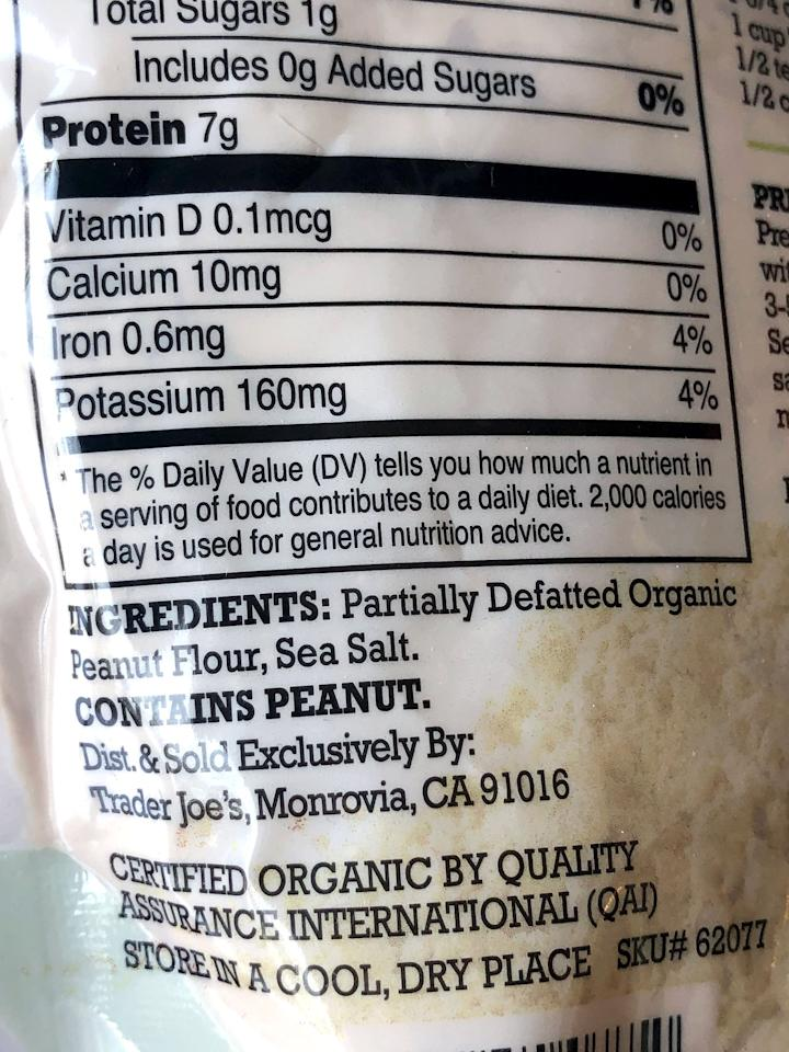 <p>Look at that! Only two ingredients: partially defatted organic peanut flour and sea salt. It's not exactly a whole food, and it is processed, but at least you know exactly what these two ingredients are.</p>