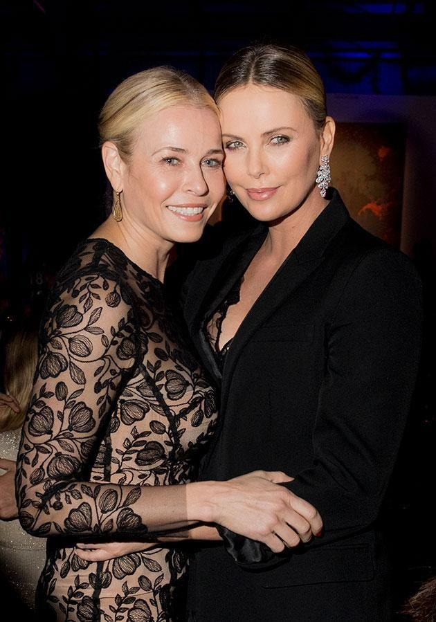 Theron is pictured with Handler at the event. Photo: Getty.