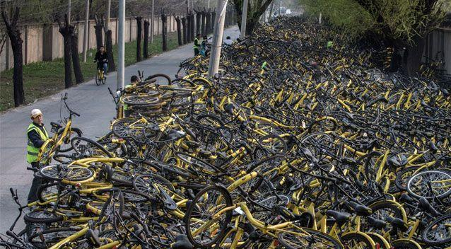 One location in Beijing stretches for hundreds of metres filled with share bikes. Source: Getty