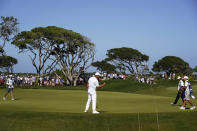 Bryson DeChambeau reacts to a putt on the seventh hole during the second round of the PGA Championship golf tournament on the Ocean Course Friday, May 21, 2021, in Kiawah Island, S.C. (AP Photo/Chris Carlson)