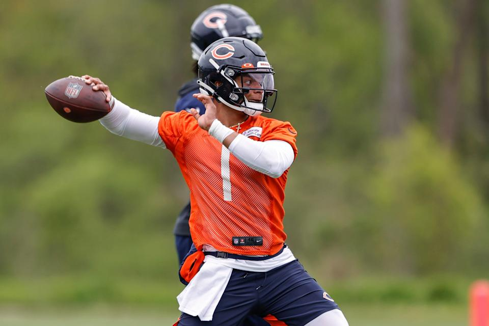 Chicago Bears rookie quarterback Justin Fields works out during rookie minicamp at Halas Hall in Lake Forest, Illinois.