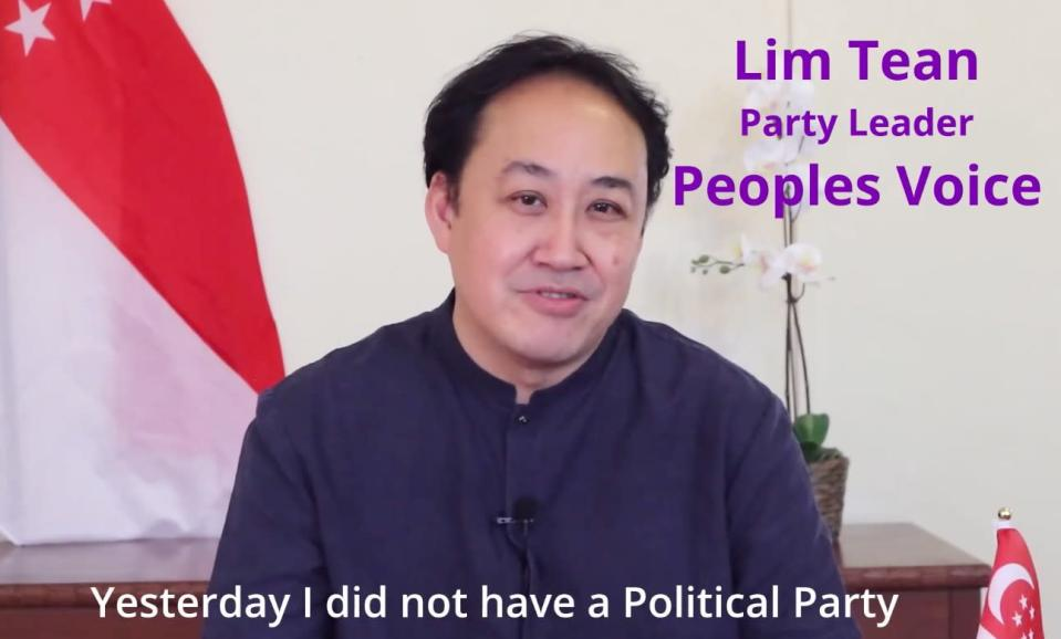 Lim Tean said that his party hasdone away with the