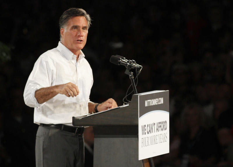 Republican presidential candidate and former Massachusetts Gov. Mitt Romney speaks during a campaign rally in Apopka, Fla. on Saturday, Oct. 6, 2012. (AP Photo/Reinhold Matay)
