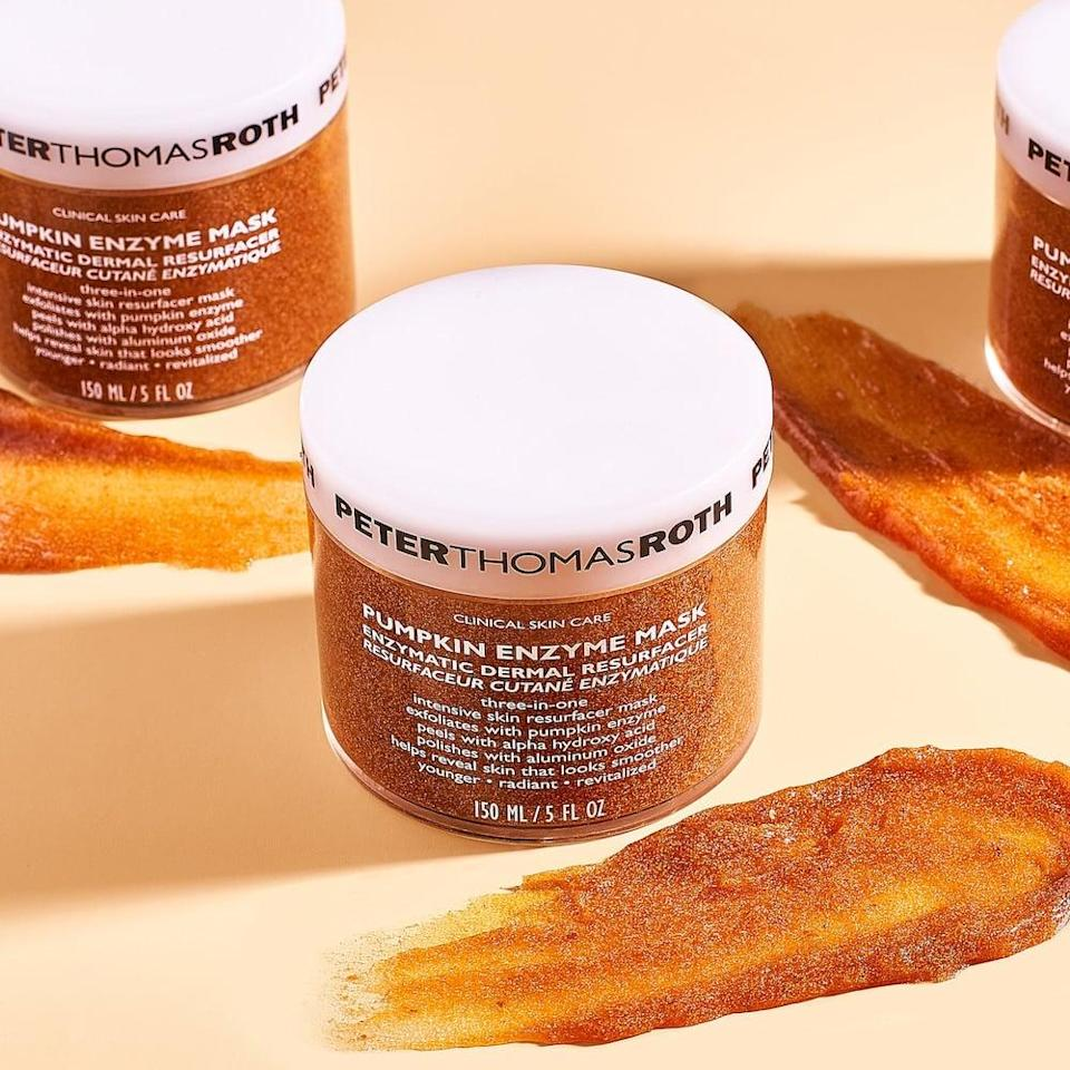 <p>If you have stubborn hyperpigmentation or dark spots, the <span>Pumpkin Enzymes: Peter Thomas Roth Pumpkin Enzyme Mask Enzymatic Dermal Resurfacer</span> ($60) is the pumpkin spice latte you're face will love. Polish and buff your skin with this physical and chemical exfoliator.</p>
