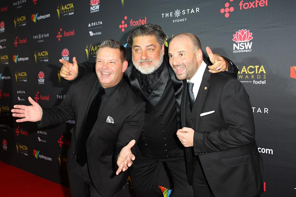 Gary Mehigan, Matt Preston and George Calombaris attends the 7th AACTA Awards Presented by Foxtel. Photo: Getty