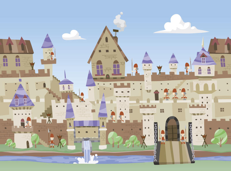 Illustration of a castle with a moat.