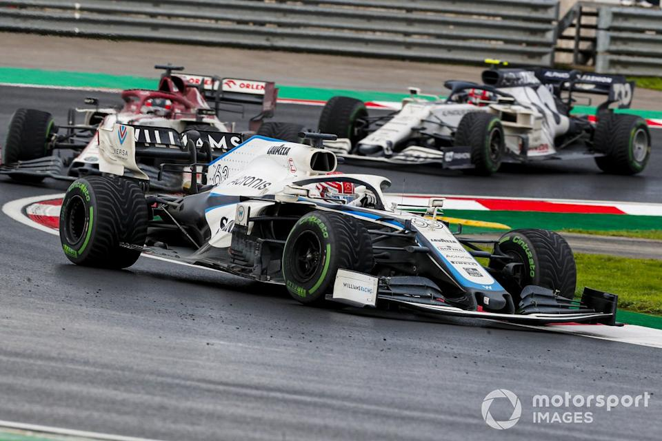 "George Russell, Williams FW43, Kimi Raikkonen, Alfa Romeo Racing C39, Pierre Gasly, AlphaTauri AT01<span class=""copyright"">Steven Tee / Motorsport Images</span>"