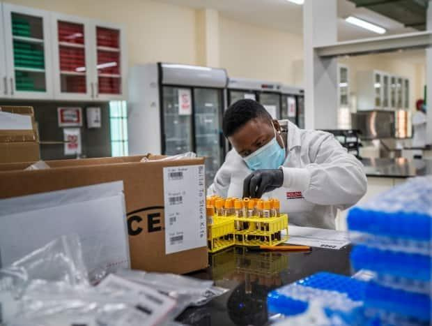 A lab technician works on blood samples taken from people taking part in a Johnson & Johnson COVID-19 vaccine study in Groblersdal, South Africa, northeast of Johannesburg, on Feb. 11. The five different vaccines submitted to Health Canada for approval may each play a role in controlling the variants.