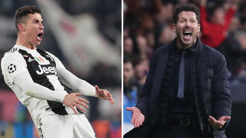 Cristiano Ronaldo (pictured left) gestures after scoring and Diego Simeone (pictured right) gets frustrated.