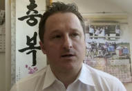"""FILE - In this March 2, 2017, file image made from video, Michael Spavor, director of Paektu Cultural Exchange, talks during a Skype interview in Yanji, China. China told Prime Minister Justin Trudeau on Monday, June 22, 2020 to """"stop making irresponsible remarks"""" after he said Beijing's decision to charge two Canadians with spying was linked to his country's arrest of a Chinese tech executive. (AP Photo, File)"""