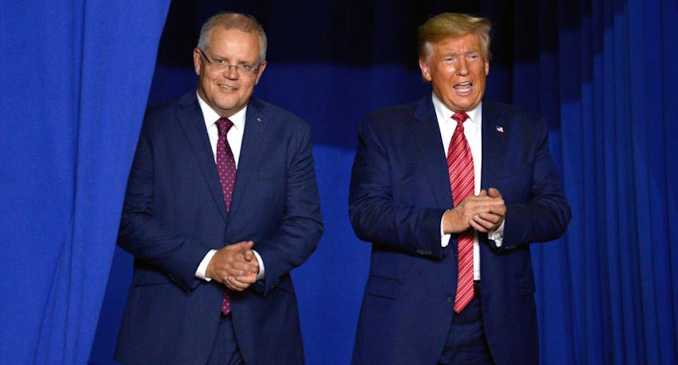 Scott Morrison (left) and US president Donald Trump (right) have downplayed climate change.