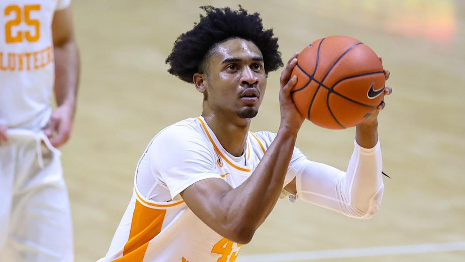 Jan 26, 2021; Knoxville, Tennessee, USA; Tennessee Volunteers guard Keon Johnson (45) shoots a free throw against the Mississippi State Bulldogs during the second half at Thompson-Boling Arena. Mandatory Credit: Randy Sartin-USA TODAY Sports ORG XMIT: IMAGN-439426 ORIG FILE ID:  20210126_gma_bs1_190.jpg