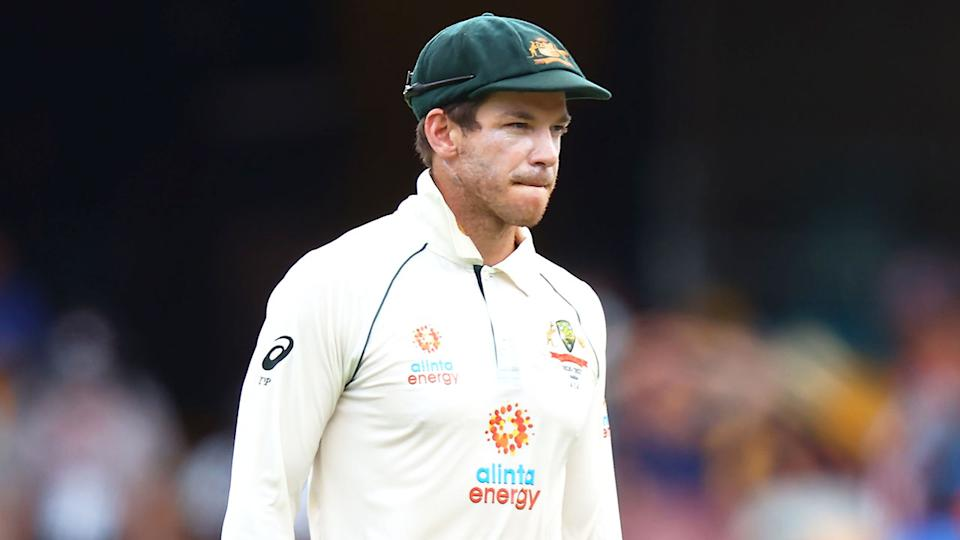 Pictured here, Australia captain Tim Paine looks on in frustration during the fourth Test against India.