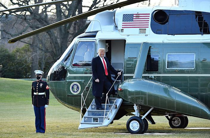 <p>Donald Trump boards Marine One as he departs the White House. </p>