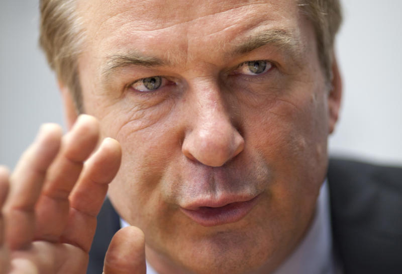 Alec Baldwin gestures during an interview with The Associated Press in Washington, Monday, April 16, 2012, Alec Baldwin is going to Congress to ask for sustained federal funding for arts programs amid the ever tight budget climate. (AP Photo/J. Scott Applewhite)
