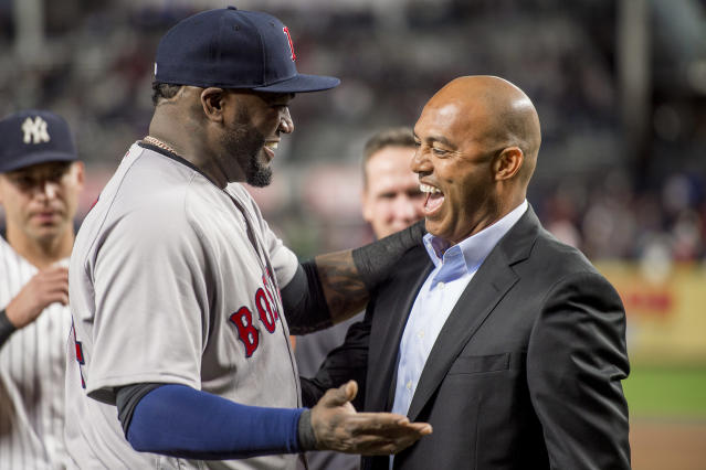 "Former New York Yankees pitcher Mariano Rivera with David Ortiz before his retirement in 2016. (Photo by Billie Weiss/ <a class=""link rapid-noclick-resp"" href=""/mlb/teams/boston/"" data-ylk=""slk:Boston"">Boston</a> Red Sox/Getty Images)"