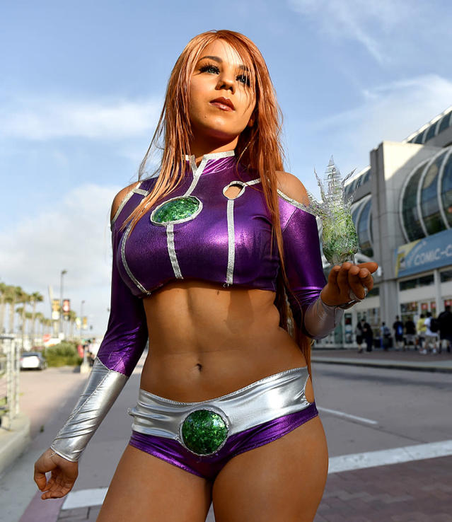 <p>Emily Escevarria of San Diego shows off her costume — Starfire from <em>Teen Titans Go!</em> — at Comic-Con International on July 18, 2018, in San Diego. (Photo: Chris Pizzello/Invision/AP) </p>