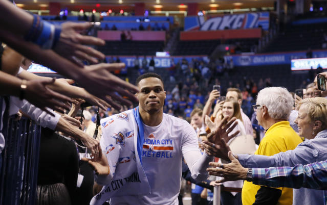 Russell Westbrook occupies an important place on Oklahoma City Thunder history. (AP Photo/Sue Ogrocki)