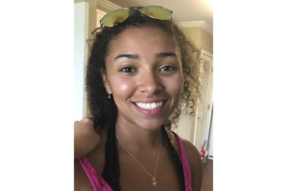 FILE - This undated file photo released by police in Auburn, Ala., shows Aniah Blanchard. Human remains discovered in a wooded area have been confirmed as belonging to Blanchard, a missing college student who was the stepdaughter of well-known UFC fighter Walt Harris, Alabama authorities announced Wednesday, Nov. 27, 2019. (Auburn Police Division via AP, File)
