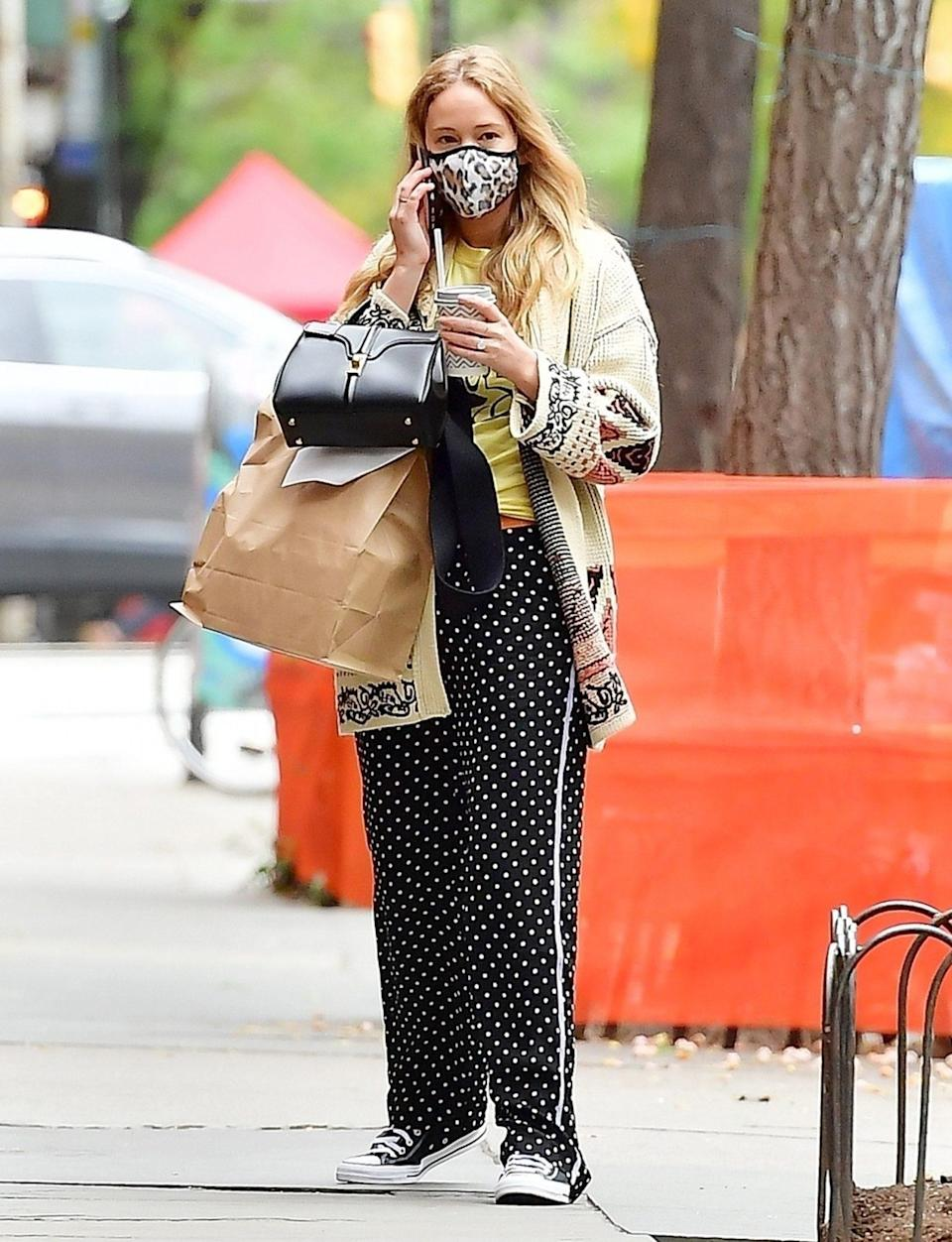 <p>Jennifer Lawrence steps out in polka dot pants to meet friends for lunch on Monday in N.Y.C. </p>