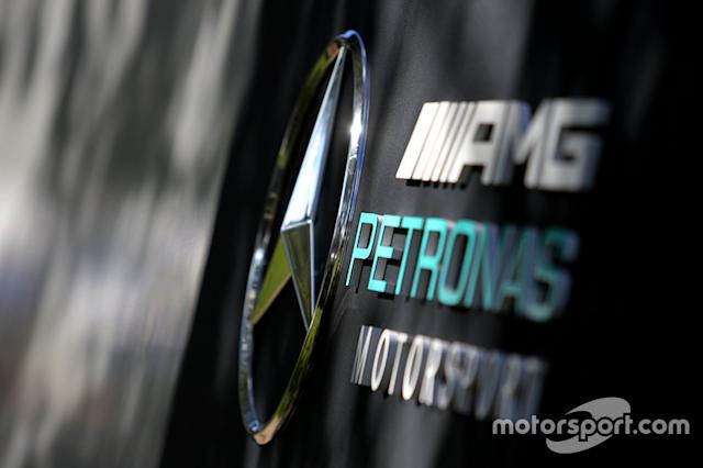"Mercedes AMG F1 logo signage <span class=""copyright"">XPB Images</span>"