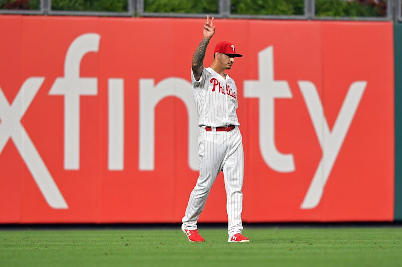 Vince Velasquez of the Philadelphia Phillies acknowledges the crowd after throwing out a runner at home plate. (Photo by Drew Hallowell/Getty Images)