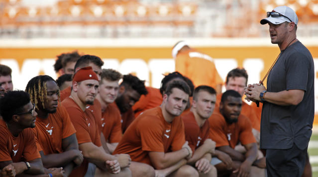 Texas Longhorns head coach Tom Herman talks with the team during Family Friday practice held Friday Sept. 6, 2019 at Darrell K Royal-Texas Memorial Stadium in Austin, Tx. ( Photo by Edward A. Ornelas )