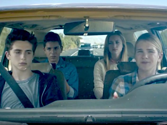 """From left, Timothée Chalamet, Anthony Quintal, Lili Reinhart, and Lilly Rabe in """"Miss Stevens."""" <p class=""""copyright"""">The Orchard</p>"""