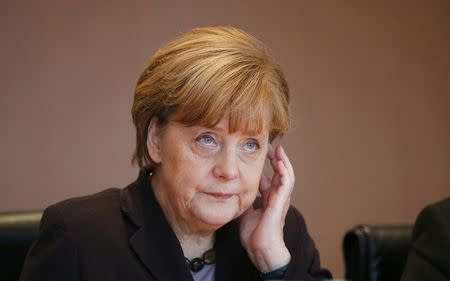 German Chancellor Merkel  attends the cabinet meeting at the Chancellery in Berlin
