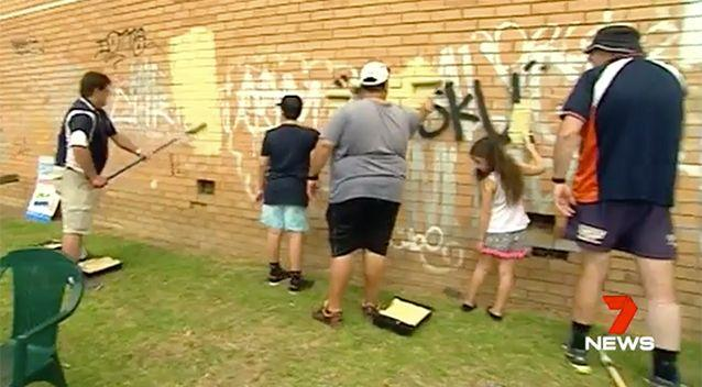 Police have invited the public to help paint over graffiti. Image: 7News