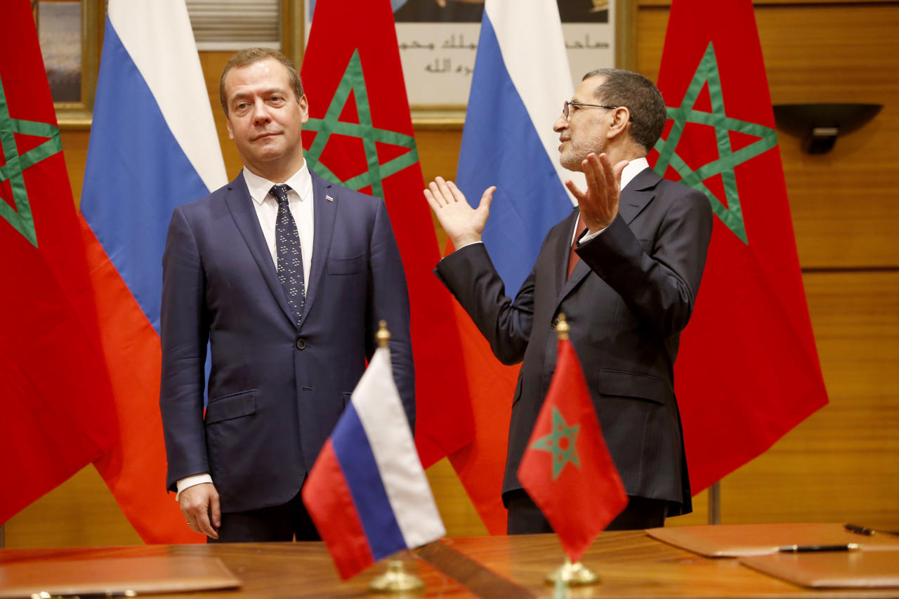 <p> Russian Prime Minister Dmitry Medvedev, left and his Moroccan counterpart Saad-Eddine El Othmani attend a meeting of the Moroccan and Russian officials in Rabat, Morocco, Wednesday Oct. 11, 2017, Dmitry Medvedev is on two days official visit to Morocco. (AP Photo/Abdeljalil Bounhar) </p>