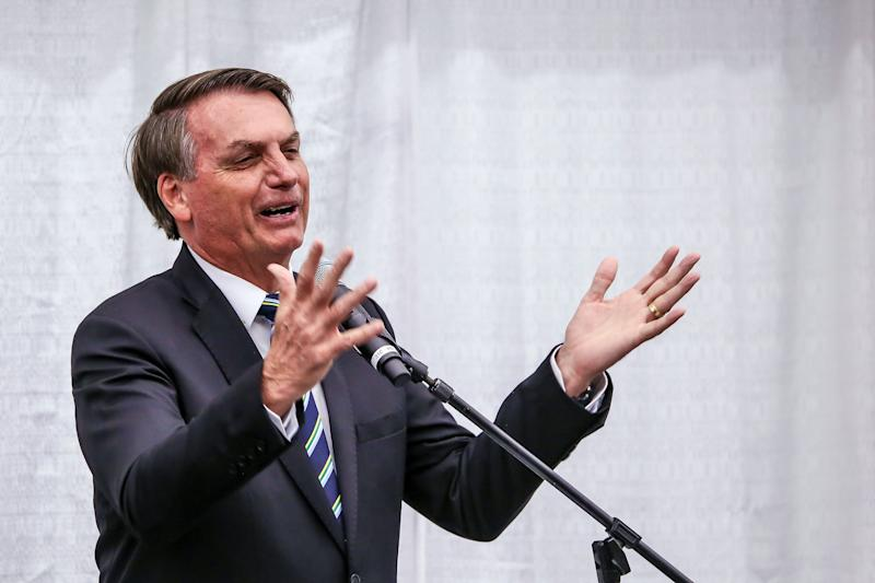 Brazilian President Jair Bolsonaro speaks during an event at Miami's Brazilian community at Miami Dade College's Medical Campus in Miami, Florida, on March 9, 2020. (Photo by Zak BENNETT / AFP) (Photo by ZAK BENNETT/AFP via Getty Images)
