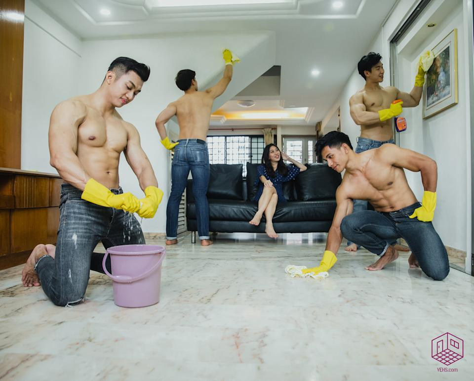 Vehs is offering a one-weekend only Hunky Guy Cleaning Service to Singaporeans. (PHOTO: Vehs)