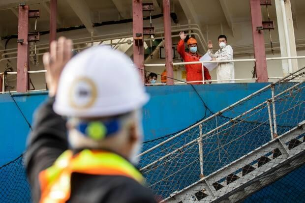 Athaide waves to seafarers onboard bulk carriers in B.C.