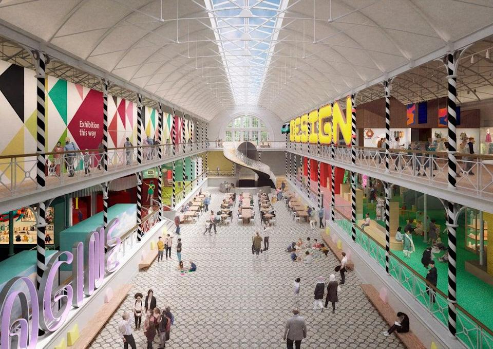 View across the Town Square space that includes a new café and central circulation atrium at Young V&A (© Victoria and Albert Museum, London; image by Picture Plane)