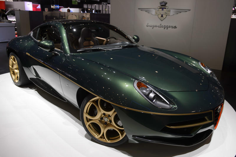 The new Touring Superleggera Disco Volante is shown during the press day at the 84th Geneva International Motor Show in Geneva, Switzerland, Wednesday, March 5, 2014. (AP Photo/Keystone, Martial Trezzini)